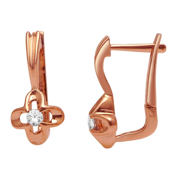 Drop Earrings With 1/8 Carat Tw Diamonds In 14Kt Rose Gold