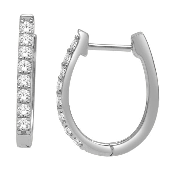 Hoop Earrings With 1/2 Carat Tw Diamonds In 14Kt White Gold
