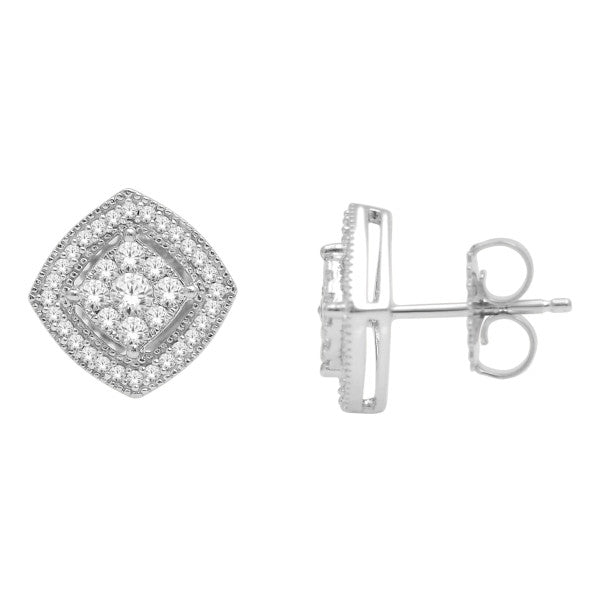 Cluster Stud Earrings With 0.47 Carat Tw Diamonds In 14Kt White Gold
