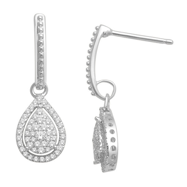Drop Earrings With 3/8 Carat Tw Diamonds In 14Kt White Gold
