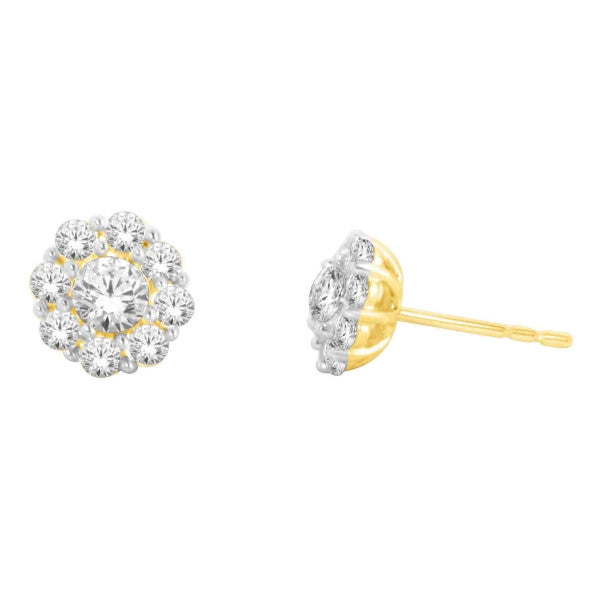 14Kt Yellow Gold Fashion Earrings With 1 Carat Tw Of Diamonds