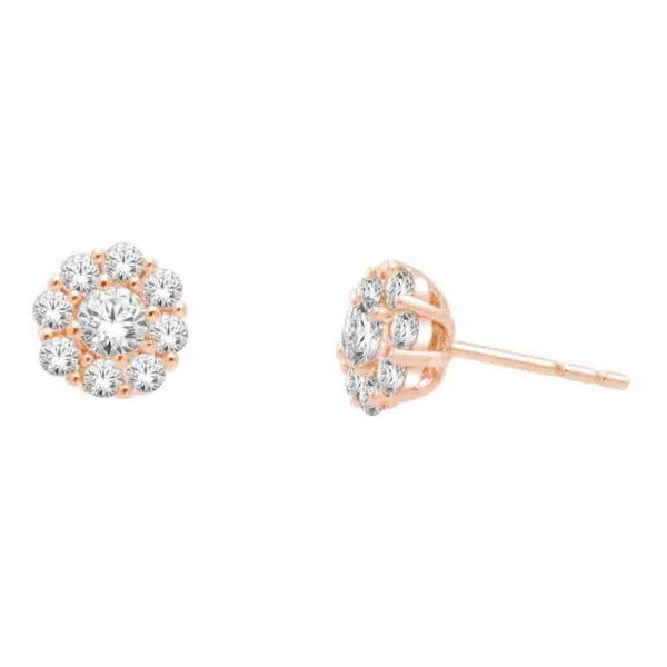 14Kt Rose Gold Fashion Earrings With 3/4 Carat Tw Of Diamonds