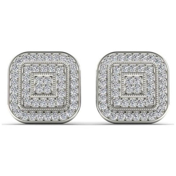Cluster Stud Earrings With 1/5 Carat Tw Diamonds In 14Kt White Gold