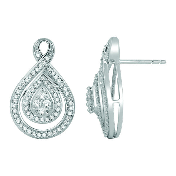 Cluster Stud Earrings With 1/2 Carat Tw Diamonds In 14Kt White Gold