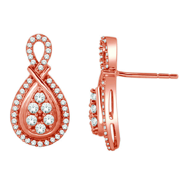 Cluster Stud Earrings With 1/2 Carat Tw Diamonds In 14Kt Rose Gold