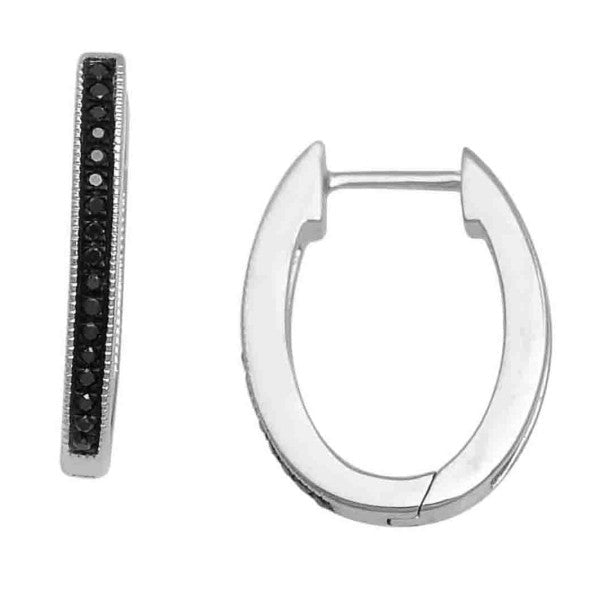 14Kt White Gold Fashion Hoop Earrings With 0.14 Carat Tw Of Diamonds