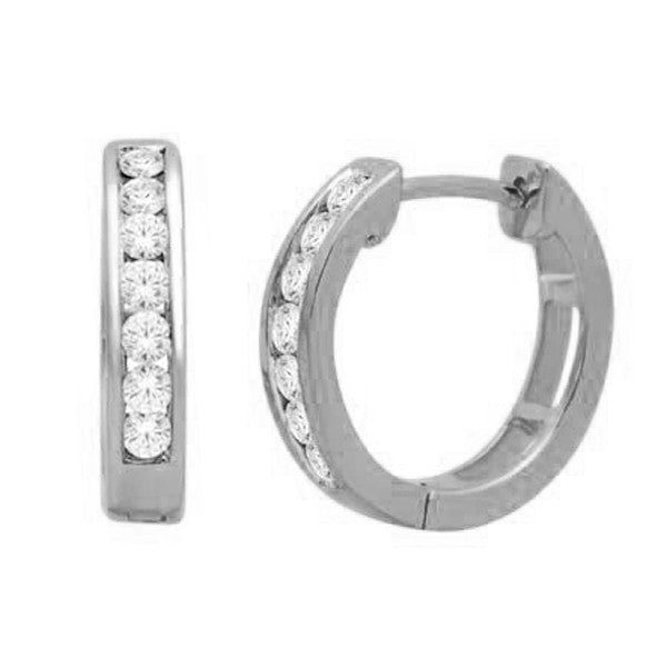 Hoop Earrings With 1/4 Carat Tw Diamonds In 14Kt White Gold