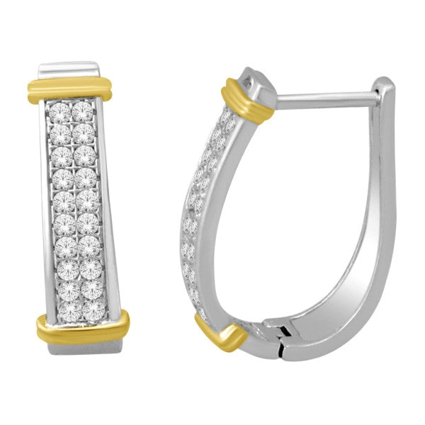 Hoop Earrings With 1/2 Carat Tw Diamonds In 14Kt White/Yellow Gold