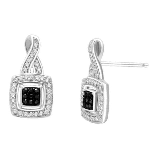 14Kt White Gold Fashion Earrings With 1/4 Carat Tw Of Diamonds