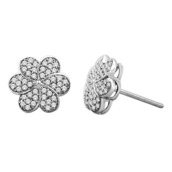 Cluster Stud Earrings With 0.38 Carat Tw Diamonds In 14Kt White Gold