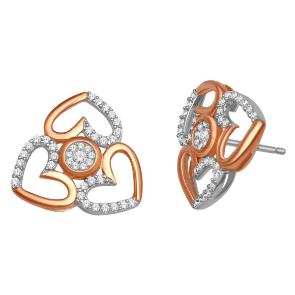 Cluster Stud Earrings With 3/8 Carat Tw Diamonds In 14Kt White/Rose Gold