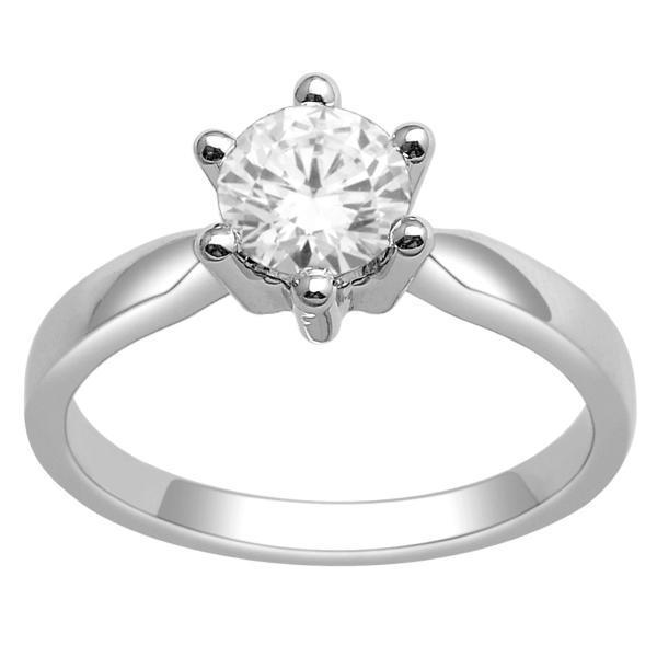 14Kt White Gold Solitaire Diamond Ring With 3/4 Carat Round Diamond