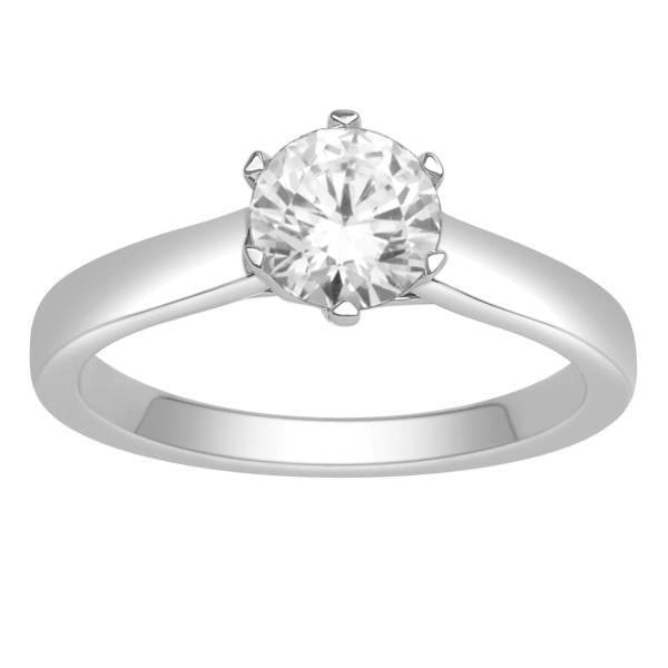 Gia Certified 14Kt White Gold Solitaire Diamond Ring With 1 Carat Round Diamond