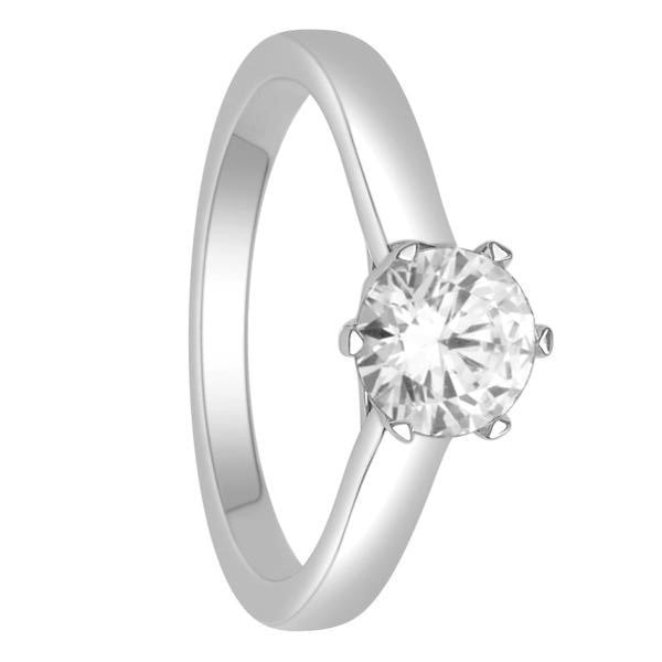14Kt White Gold Solitaire Diamond Ring With 1 Carat Round Diamond