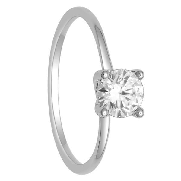 14Kt White Gold Diamond Solitaire Ring With 3/4 Carat Round Diamond