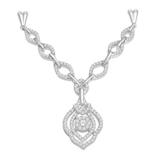 14Kt White Gold Diamond Necklace With 3/4 Carat Tw Of Diamonds