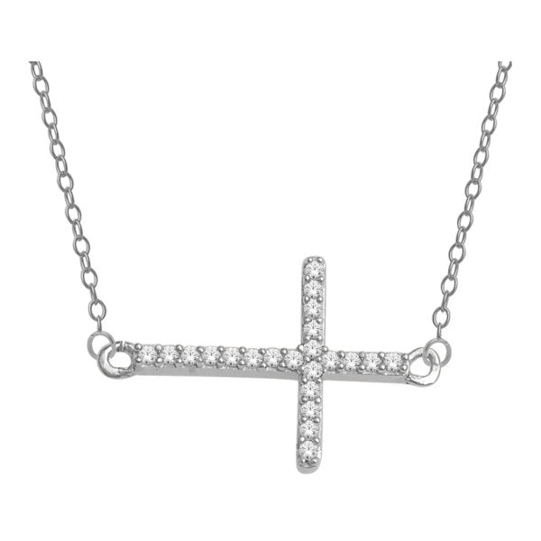 10Kt White Gold Cross Pendant With 0.06 Carat Tw Of Diamonds