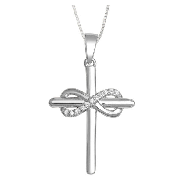 10Kt White Gold Cross Pendant With 0.04 Carat Tw Of Diamonds