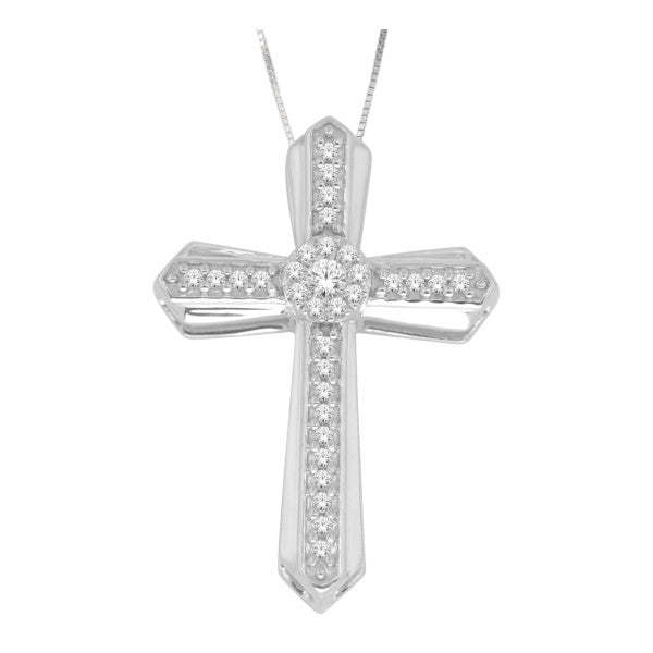 10Kt White Gold  Cross Pendant With 0.13 Carat Tw Of Diamonds
