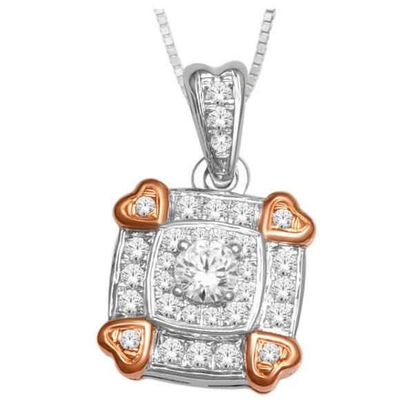 14Kt White/Rose Gold Fashion Pendant With 0.30 Carat Tw Of Diamonds
