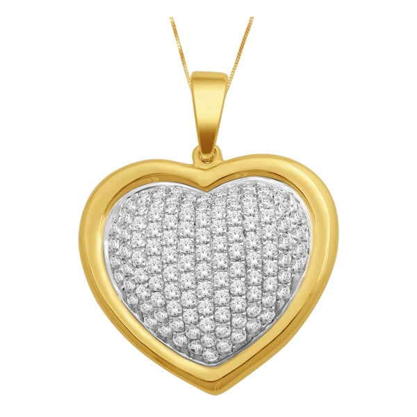 14Kt Yellow Gold Heart Pendant With 0.78 Carat Tw Of Diamonds