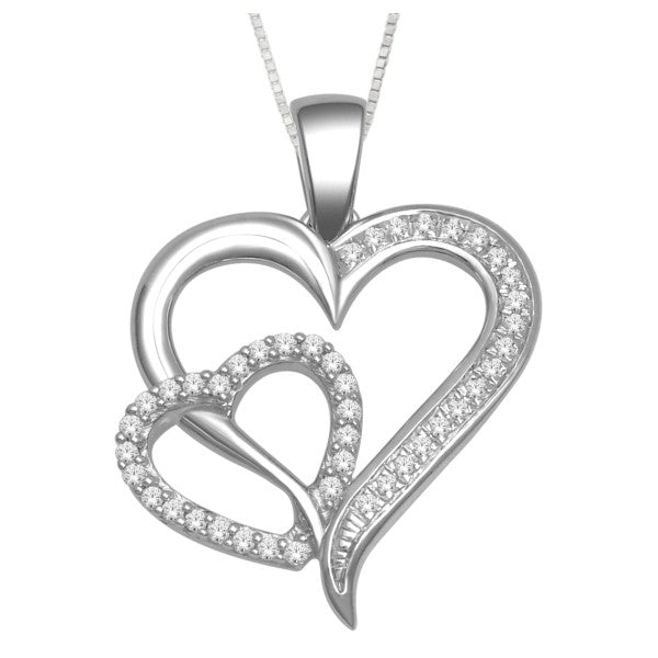 10Kt White Gold Heart Pendant With 0.12 Carat Tw Of Diamonds