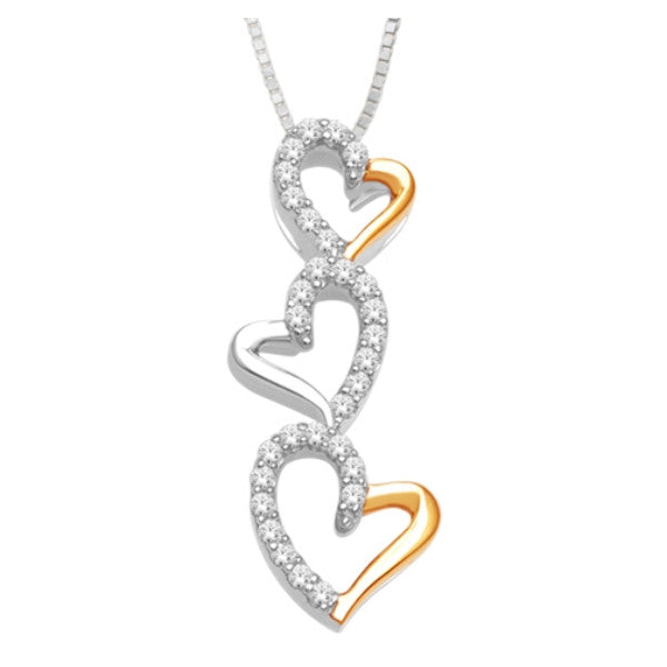 10Kt White/Rose Gold Heart Pendant With 1/10 Carat Tw Of Diamonds