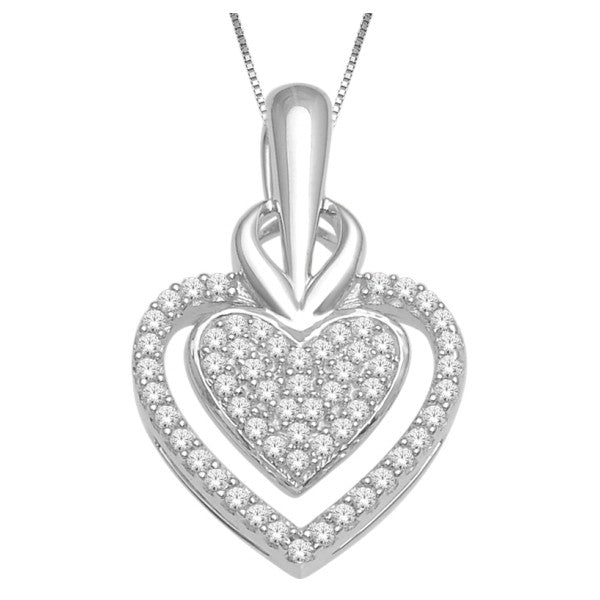 10Kt White Gold Heart Pendant With 0.14 Carat Tw Of Diamonds