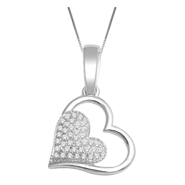 10Kt White Gold Heart Pendant With 1/10 Carat Tw Of Diamonds