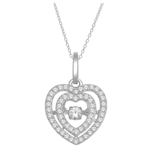 14Kt White Gold Heart Pendant With 0.18 Carat Tw Of Diamonds