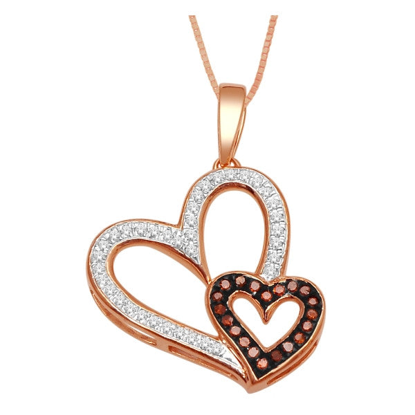 10Kt Rose Gold Heart Pendant With 1/8 Carat Tw Of Diamonds