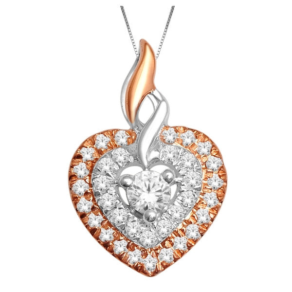 10Kt White/Rose Gold Heart Pendant With 1/8 Carat Tw Of Diamonds