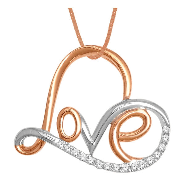 10Kt White/Rose Gold Heart Pendant With 0.08 Carat Tw Of Diamonds