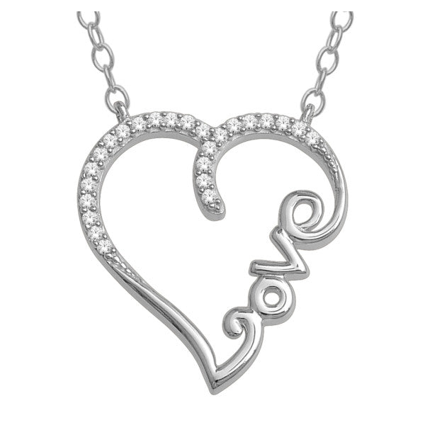 10Kt White Gold Heart Pendant With 0.08 Carat Tw Of Diamonds