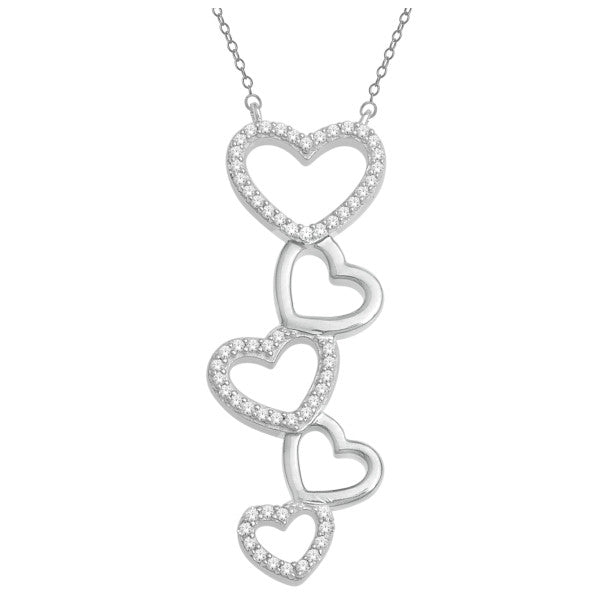 10Kt White Gold Heart Pendant With 1/8 Carat Tw Of Diamonds