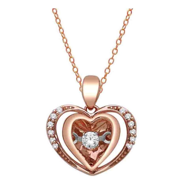 10Kt Rose Gold Heart Pendant With 1/10 Carat Tw Of Diamonds