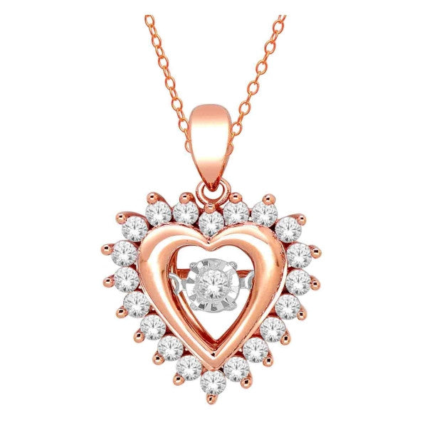 14Kt White/Rose Gold Heart Pendant With 1/2 Carat Tw Of Diamonds
