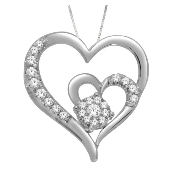 14Kt White Gold Heart Pendant With 1/5 Carat Tw Of Diamonds