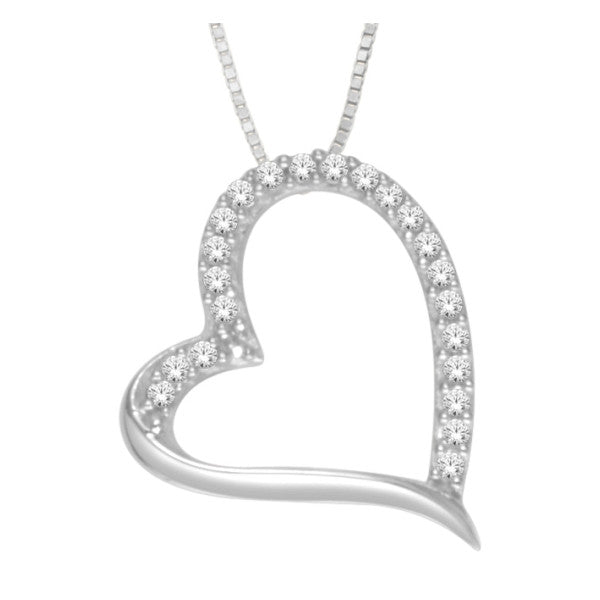 10Kt White Gold Heart Pendant With 0.05 Carat Tw Of Diamonds