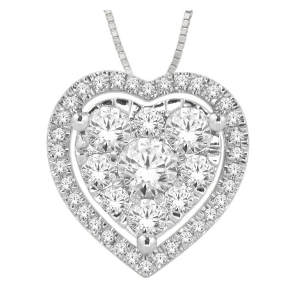 14Kt White Gold Heart Pendant With 1/2 Carat Tw Of Diamonds
