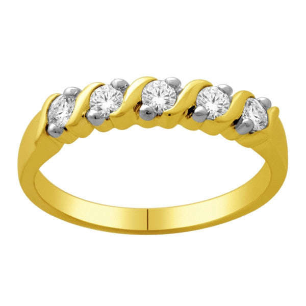 Five Stone Diamond Ring With 0.35 Carat Tw Of Diamonds In 14Kt Yellow Gold