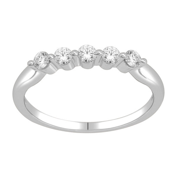Five Stone Diamond Ring With 0.35 Carat Tw Of Diamonds In 14Kt White Gold