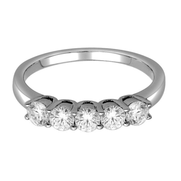 Five Stone Diamond Ring With 3/4 Carat Tw Of Diamonds In 18Kt White Gol