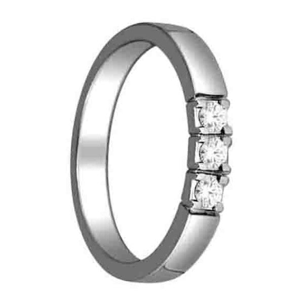 Three Stone Engagement Ring With 1/8 Carat Tw Of Diamonds In 14Kt White Gold