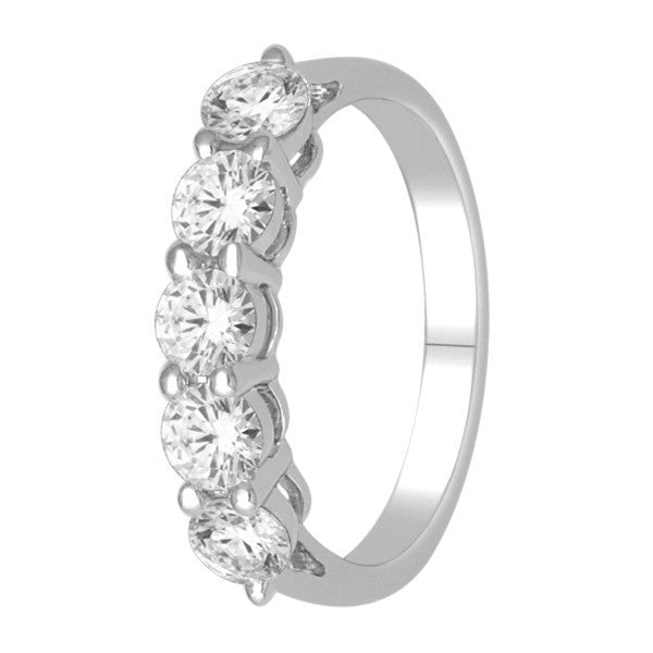 Five Stone Diamond Ring With 1 Carat Tw Of Diamonds In 18Kt White Gold