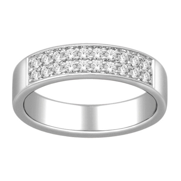 Wedding Band With 3/8 Carat Tw Of Diamonds In 14Kt White Gold
