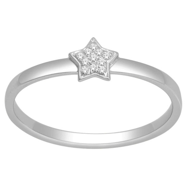 Diamond Stackable Ring With 0.03 Carat Tw Of Diamonds In 10Kt White Gold