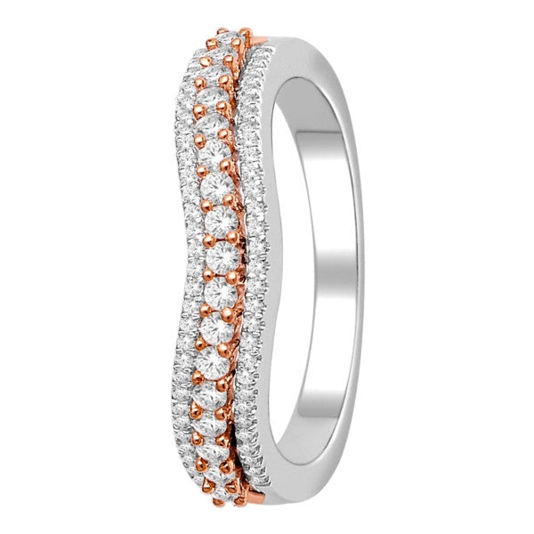 Wedding Band With 3/8 Carat Tw Of Diamonds In 14Kt White/Rose Gold