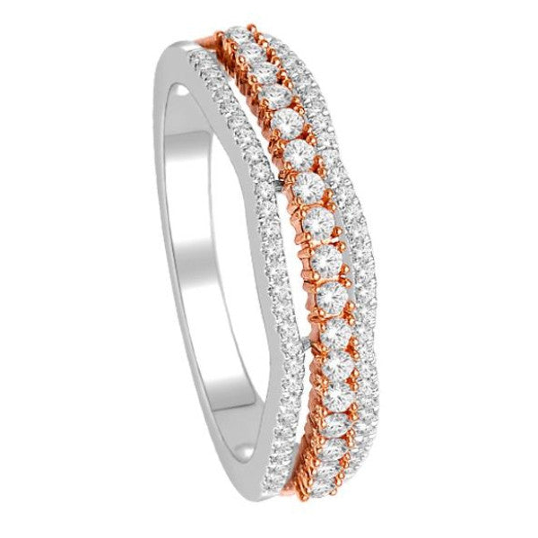 Wedding Band With 1/2 Carat Tw Of Diamonds In 14Kt White/Rose Gold