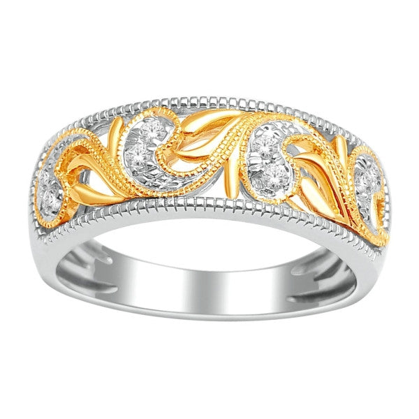 Wedding Band With 1/8 Carat Tw Of Diamonds In 14Kt Yellow/White Gold